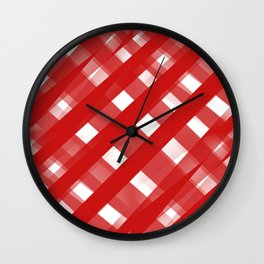 Red Plaid Illusions Wall Clock