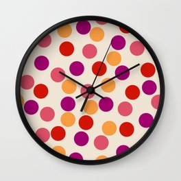 Edemama - Abstract Colorful Retro Dots Vintage Vibe Dotted Pattern Wall Clock