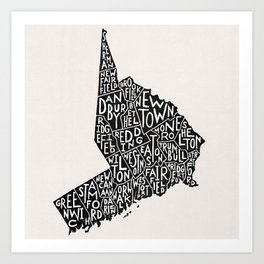 Fairfield County Map Art Print