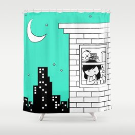 Midnight City Light - Retraced Shower Curtain