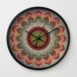Retro Folk Art - Spirit Lotus Mandala Blue Red Wall Clock