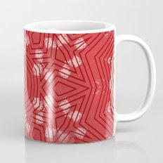 Red stripes on grunge pink mandala Mug