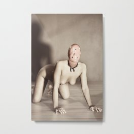 Nude Woman in fetish bdsm look sitting On hands and knees Metal Print