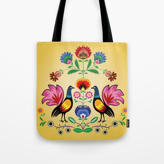 Polish Folk With Decorative Floral & Cockerels Tote Bag