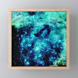 GALAXY. Teal Aqua Stars Framed Mini Art Print