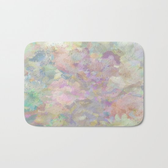 Sweet Spring Pastel Floral Abstract Bath Mat