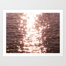 Sun glitter - blush gold Art Print