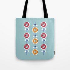 Scandinavian inspired flower pattern - blue background Tote Bag