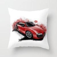 audi Throw Pillows featuring R8 V10 by an.artwrok
