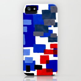 Modern Mid Century Abstract Geometric Cube Square Acrylic Painting Blue With Red Accents iPhone Case