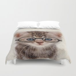 Kitten with Glasses Duvet Cover