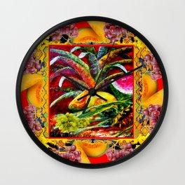RED HARVEST STILL LIFE  FRUIT ART Wall Clock