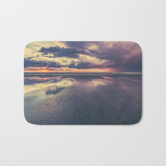 Stormy Beach Sunset Bath Mat