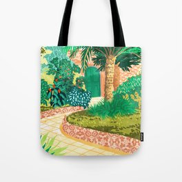 The House With The Green Door, Nature Architecture Painting, Places Stay At Home Tropical Villa Tote Bag