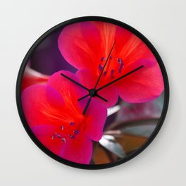 Pink Tint Rhododendron Flowers Wall Clock