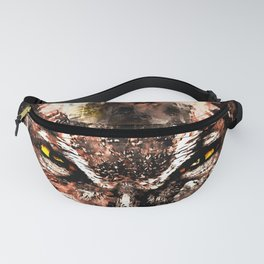 great horned owl bird close up wscb Fanny Pack