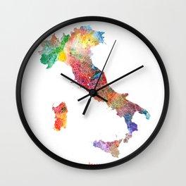 Italy Map Watercolor by Zouzounio Art Wall Clock
