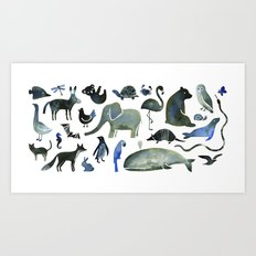 Animals in Black (and blue) Art Print