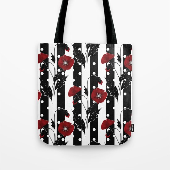 Retro. Red poppies on a black and white striped background. Tote Bag