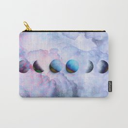 Moon Phases on Cloudy Blue Magic Sky #moontravel #decor #collage Carry-All Pouch