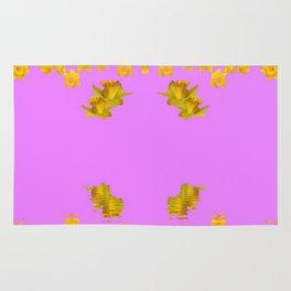 DECORATIVE MODERN PINK-DAFFODILS ART FLORAL Rug