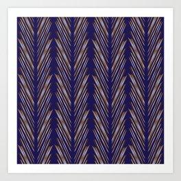 Navy Blue Wheat Grass Art Print
