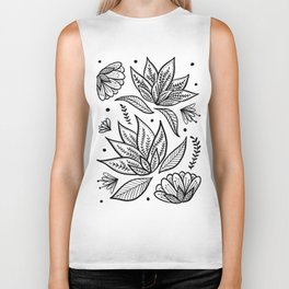 Bohemian Florals - Black and White Biker Tank