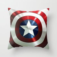 steve rogers Throw Pillows featuring Captain Steve Rogers Shields  by neutrone