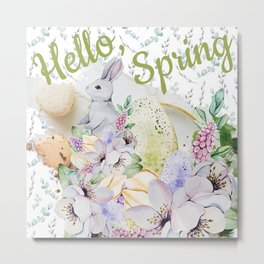 Hello Spring Pastel Design #society6 #buyart Metal Print