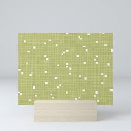 Light Green and White Grid - Missing Pieces Mini Art Print