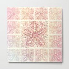 Vintage Boho Lace Flower Metal Print