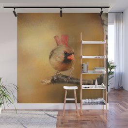 Female Cardinal Excited for Spring Wall Mural