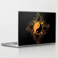 yin yang Laptop & iPad Skins featuring Yin & Yang by #dancingpenguin