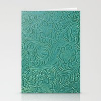leather Stationery Cards featuring teal leather by Sylvia Cook Photography