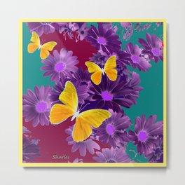PURPLE FLOWERS YELLOW BUTTERFLIES TEAL GARDEN Metal Print
