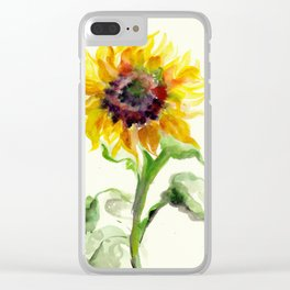 Sunflower Watercolor Clear iPhone Case