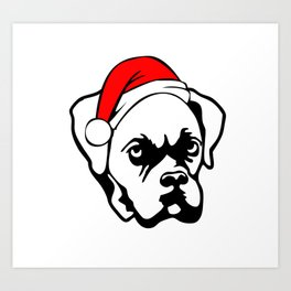 Boxer Dog with Christmas Santa Hat Art Print