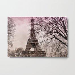 Eiffel Tower Paris in pink Metal Print