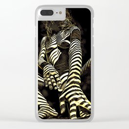 2669s-AK Crouching Nude Woman Technology by Chris Maher Clear iPhone Case