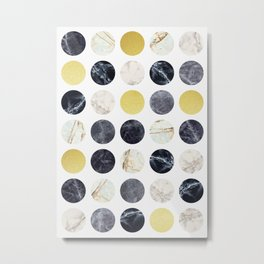 Marble and gold circles Metal Print