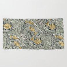 mosaic fish Beach Towel
