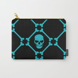Skull and bones teal on black Carry-All Pouch