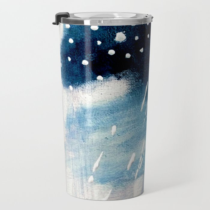 Meteor Shower - an abstract acrylic piece in blue and white Travel Mug