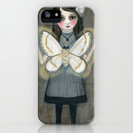 The Moth Girl, Victorian Portrait iPhone Case
