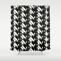 grid Shower Curtains featuring grid by half of ten