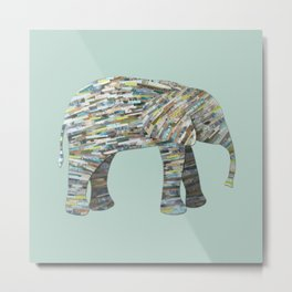 Elephant Paper Collage in Gray, Aqua and Seafoam Metal Print