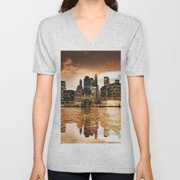 nyc skyline at dusk Unisex V-Neck