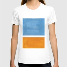 Rothko Minimalist Abstract Mid Century Color Black Square Periwinkle Yellow Ochre T-shirt