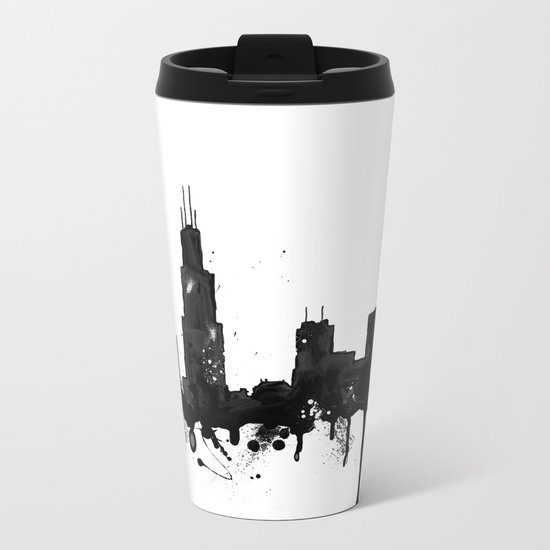Watercolor Chicago Skyline Metal Travel Mug