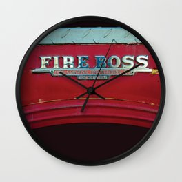 Fire Boss - Fort Worth - Fire Engine Red and Chrome Wall Clock